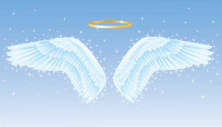 Wings of an angel with a nimbus above. Vector