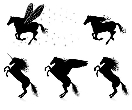 Set of vector silhouettes of horses. Vector