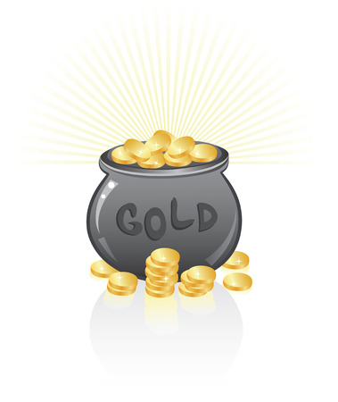 Pot full of golden coins. Stock Vector - 6128824