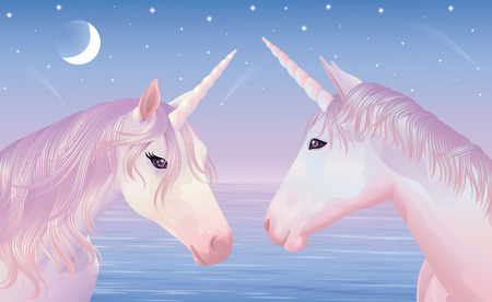 Two magic unicors on a beautiful sunset. Ilustração