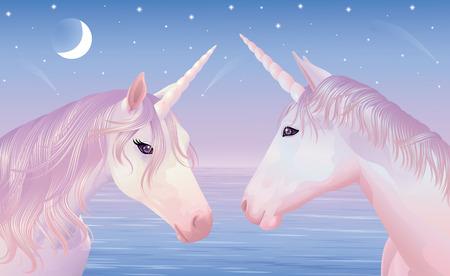 Two magic unicors on a beautiful sunset. Illustration