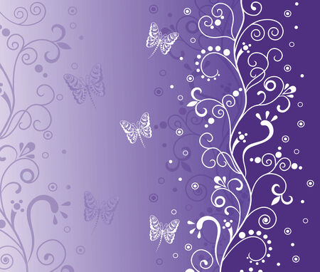 Elegant white pattern with butterflies and bubbles on the violet background. Vector