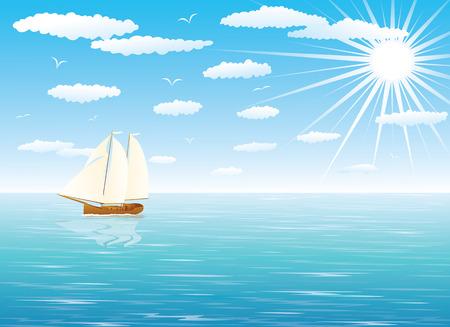 Vela nave in navigazione a vela completo con un cielo nuvoloso blu in background.