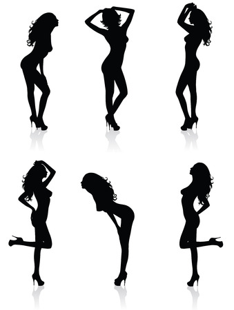 Collections of Vector silhouettes of a standing naked woman in sexual poses. Ilustração