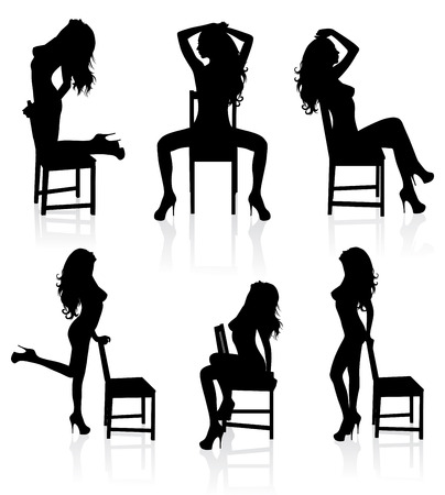 Set of vector silhouettes of a naked stripper woman with a chair. Stock Vector - 6128826