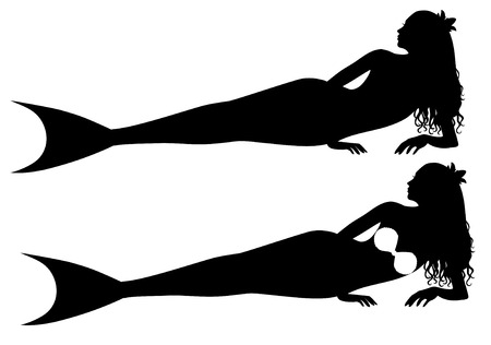 Laying silhouettes of a mermaid. Vector
