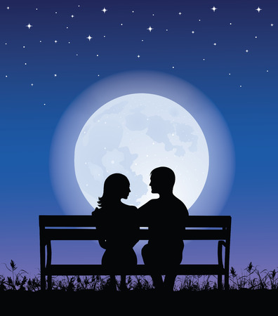 man in the moon: Silhouettes of man and woman sitting on a bench at night time.  On the background full moon and stars.