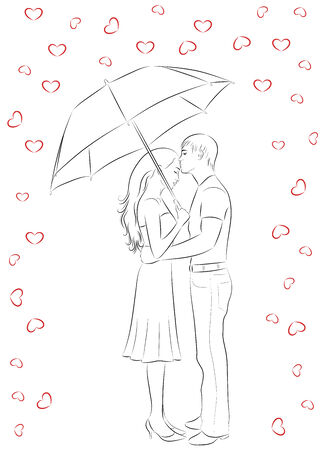 love in rain: Outline of man and woman standing and hugging. Man holding an umbrella. Raining hearts.