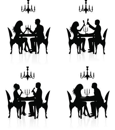 Silhouettes of couples having a romantic dinner. Ilustração