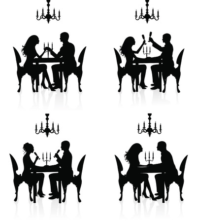 couple dating: Silhouettes of couples having a romantic dinner. Illustration