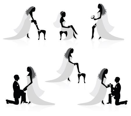 Silhouettes d'une mariée montrant une jambe avec une jarretière sur elle et les silhouettes d'un palefrenier mettre une jarretière sur la jambe de la mariée.