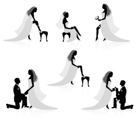 bride groom: Silhouettes of a bride showing a leg with a garter on it and silhouettes of a groom  putting a garter on a brides leg.
