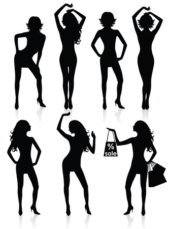 Collections of Vector silhouettes of a standing woman. Vector