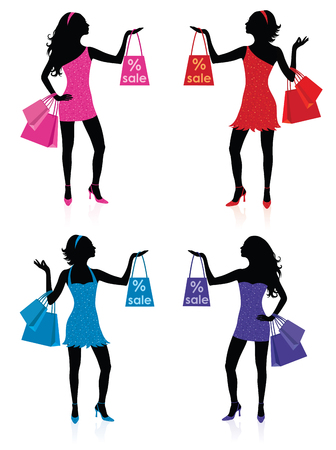 Silhouettes of women with shopping bags.  Stock Vector - 6170611