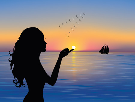 Silhouette of graceful woman touching the sun.  A ship in the distance and a flock of birds flying south. Vector