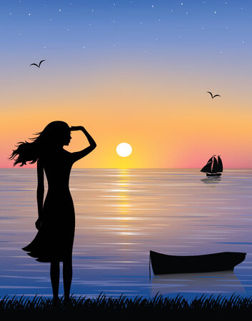 Silhouette of a boat and a graceful woman watching a ship at the sea with a beautiful sunset.   Ilustração