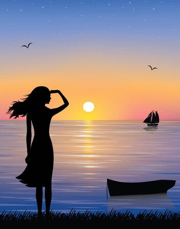 sailing vessel: Silueta de un barco y una mujer agraciada viendo un barco en el mar con una hermosa puesta de sol.