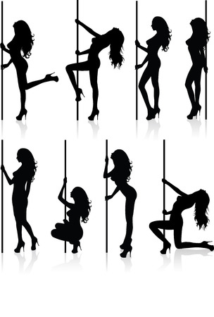 Set of vector silhouettes of a naked stripper woman with a pole. Ilustração