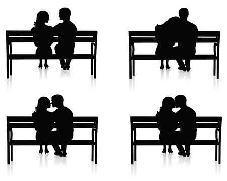 back to back couple: Different silhouettes of couples on benches.