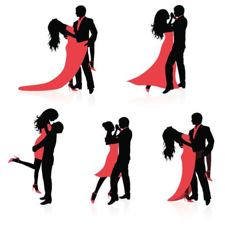 страсть: Set of vector silhouettes of dancing couples.
