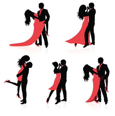 couple embrace: Set of vector silhouettes of dancing couples.