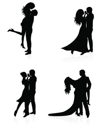 nude mann: Satz von Vector Silhouettes of dancing coupl  Illustration