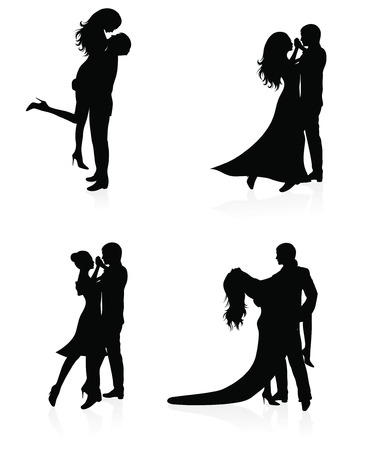 Set of vector silhouettes of dancing coupl Ilustração