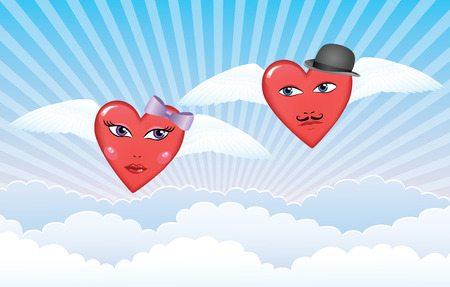 Female and male hearts with wings flying in the sky and looking at each other with affection. Vector