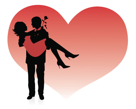 Silhouette of a man holding a woman up in his hands. Red heart on a background. Vector