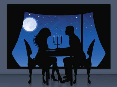 window curtains: Silhouette of a couple having a romantic evening. On the background a view from window of full moon and stars.
