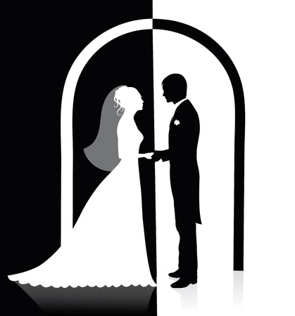 Black and white silhouettes of a groom and a bride holding hands and standing under an arch. Vector