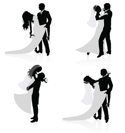newlyweds: Set of vector silhouettes of dancing married couples.