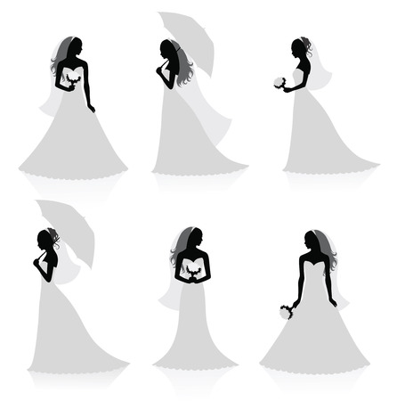 Set of vector silhouettes of a bride. Vector
