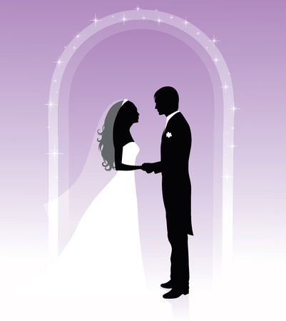 Black and white silhouettes of a groom and a bride holding hands and standing under an arch on a purple background. Vector