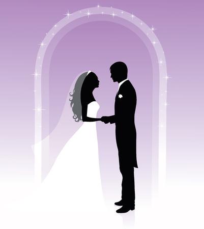 Silhouettes noires et blanches d'un marié et une mariée se tenant par la main et debout sous une arche sur un fond violet. Banque d'images - 6175953
