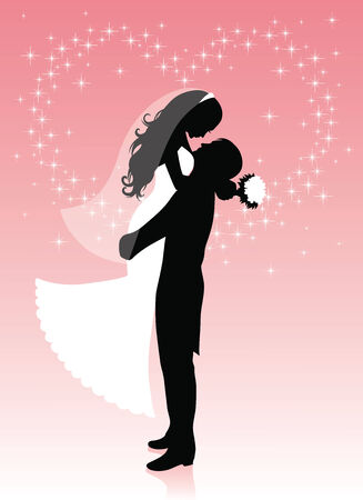 Silhouette of a groom lifting a bride up in his hands on a pink background with sparkles in a shape of a heart.  Vector