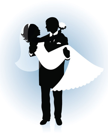 Silhouette of a groom holding a bride up in his hands on a blue background.