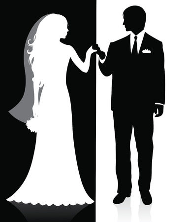 Black and white silhouettes of a groom and a bride holding hands and standing. Vector