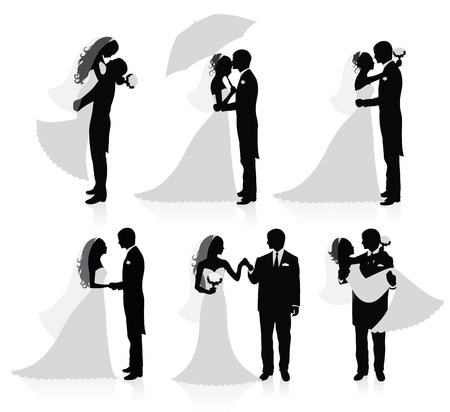 vőlegény: Set of vector silhouettes of a groom and a bride.