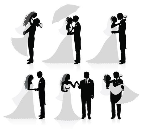 braut und bräutigam: Set of Vector Silhouettes of a Groom und eine Braut.