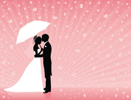 Silhouettes of groom and bride standing and hugging on the pink background. Groom holding an umbrella. Raining hearts.