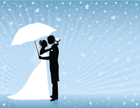 Silhouettes of groom and bride standing and hugging on the blue background. Groom holding an umbrella. Raining hearts. Vector