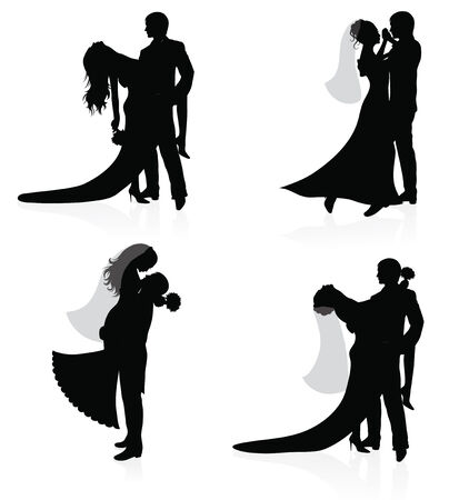 Set of vector silhouettes of dancing married couples. Vector