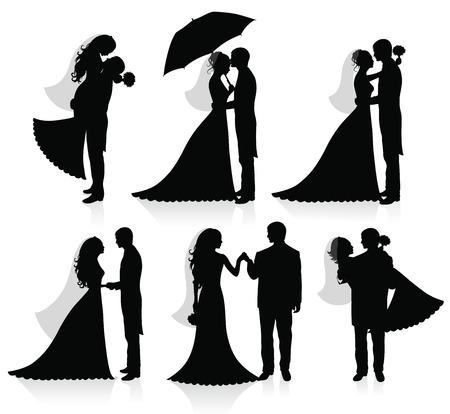 braut und bräutigam: Satz von Vector Silhouettes of ein Br�utigam und eine Braut.