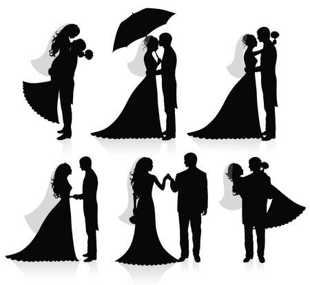 Set of vector silhouettes of a groom and a bride.