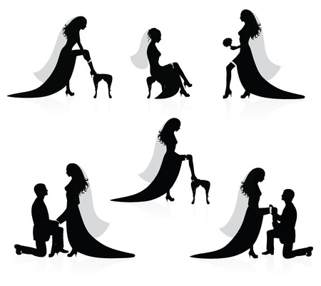 Silhouettes of a bride showing a leg with a garter on it and silhouettes of a groom  putting a garter on a brides leg. Vector