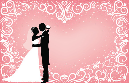 Pattern in a shape of a heart on a pink background with sparkles and silhouettes of groom and bride. Vector