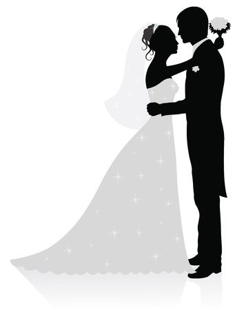 Silhouettes of groom and bride standing and hugging.