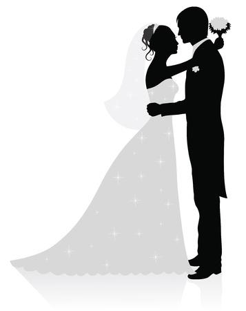 vőlegény: Silhouettes of groom and bride standing and hugging.  Illusztráció