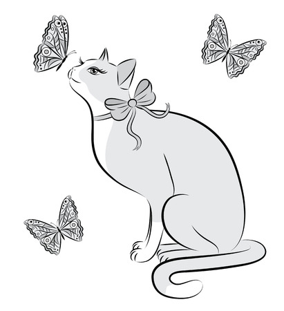 Outline of a cat and butterflies. Vector